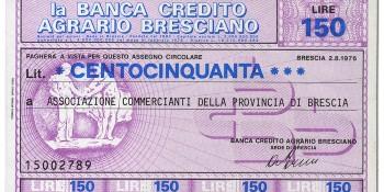 Miniassegno Banca di Credito Agrario Bresciano Lire 150 (fronte)