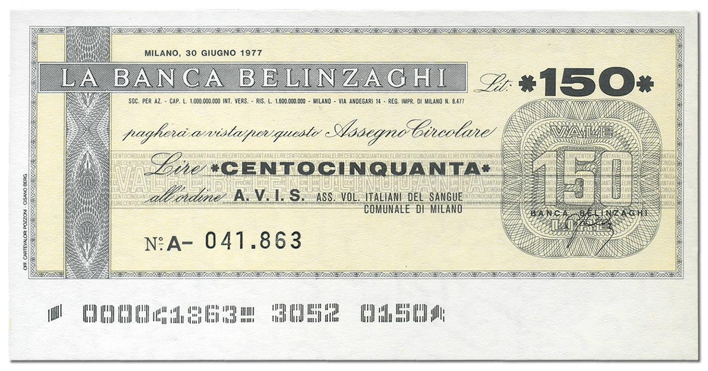 Miniassegno Banca Belinzaghi 150 lire (fronte)