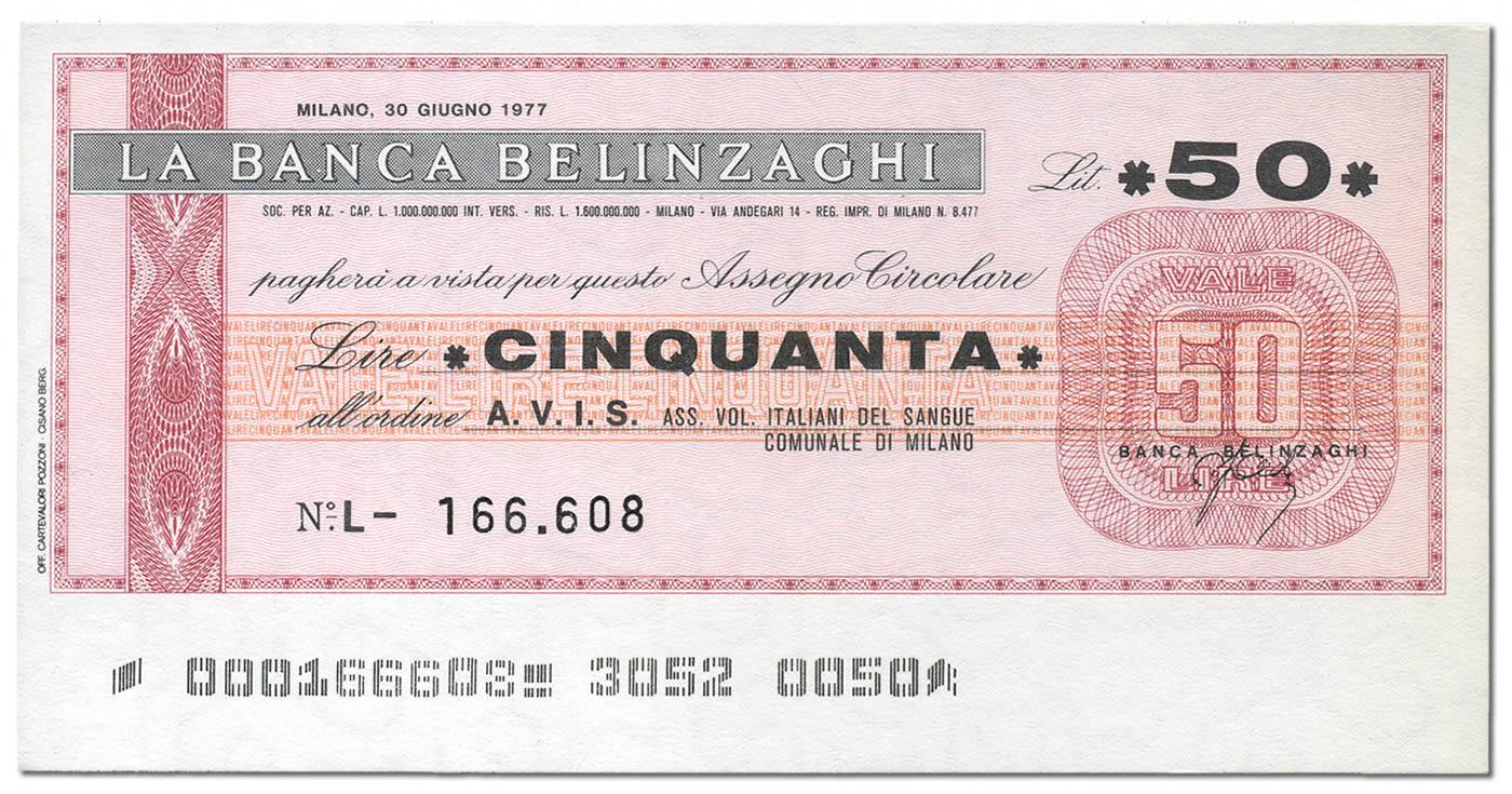 Miniassegno Banca Belinzaghi 50 lire (fronte)