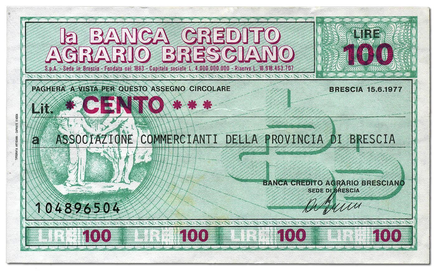 Miniassegno Credito Agrario Bresicano 100 lire