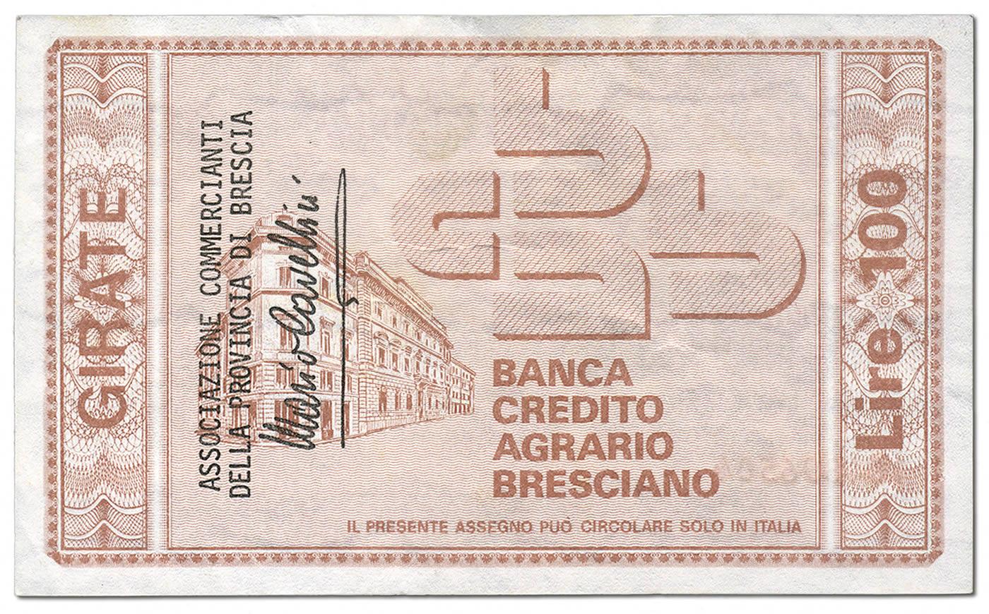Retro del miniassegno da 100 del Credito Agrario Bresciano