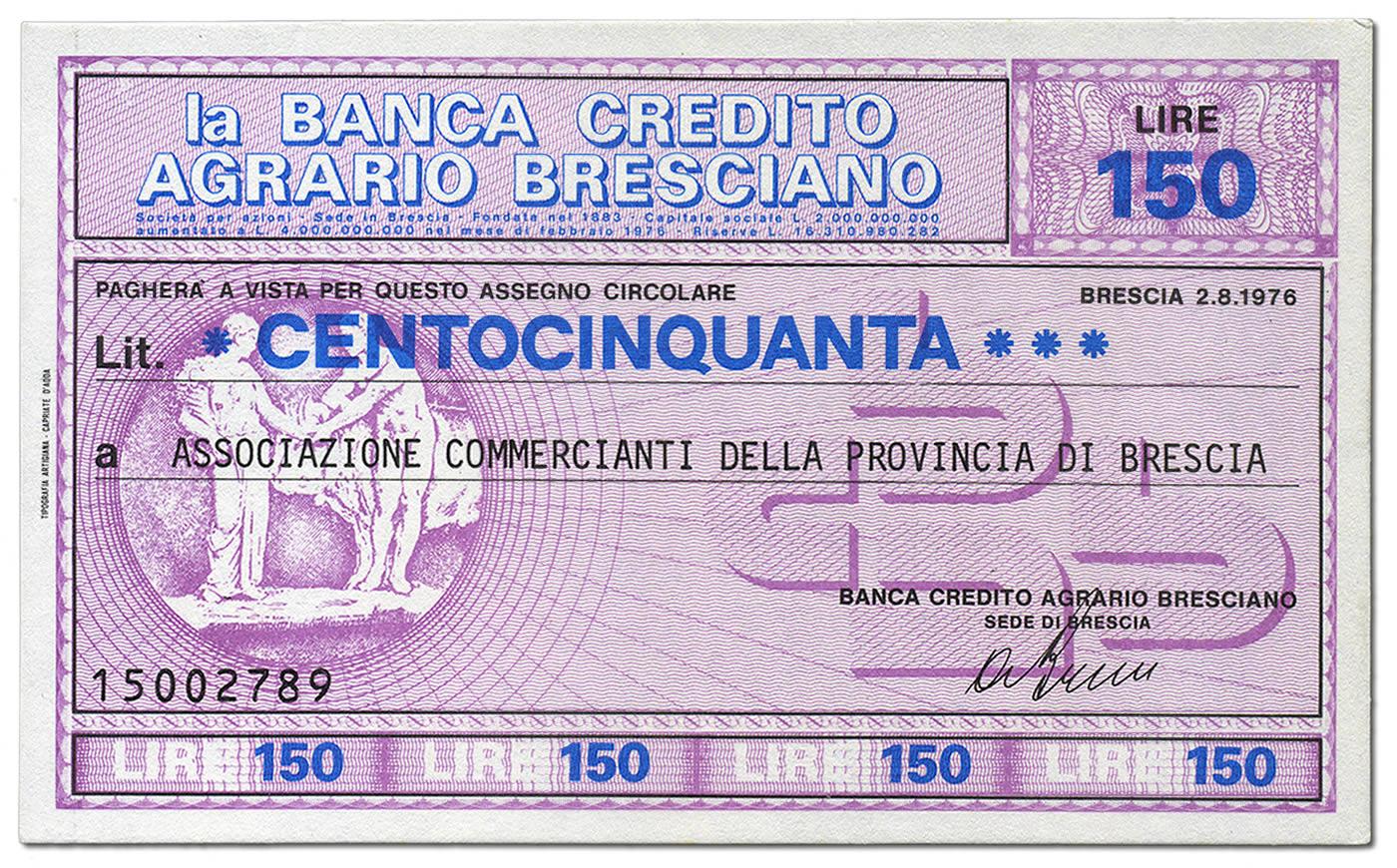Lire 150 Banca Credito Agrario Bresciano