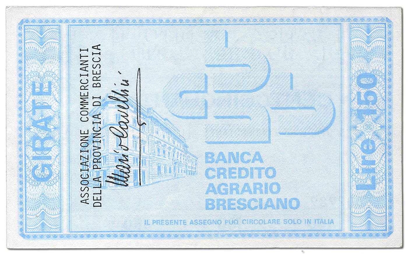 Retro del miniassegno da 150 lire della Banca Credito Agrario Bresciano