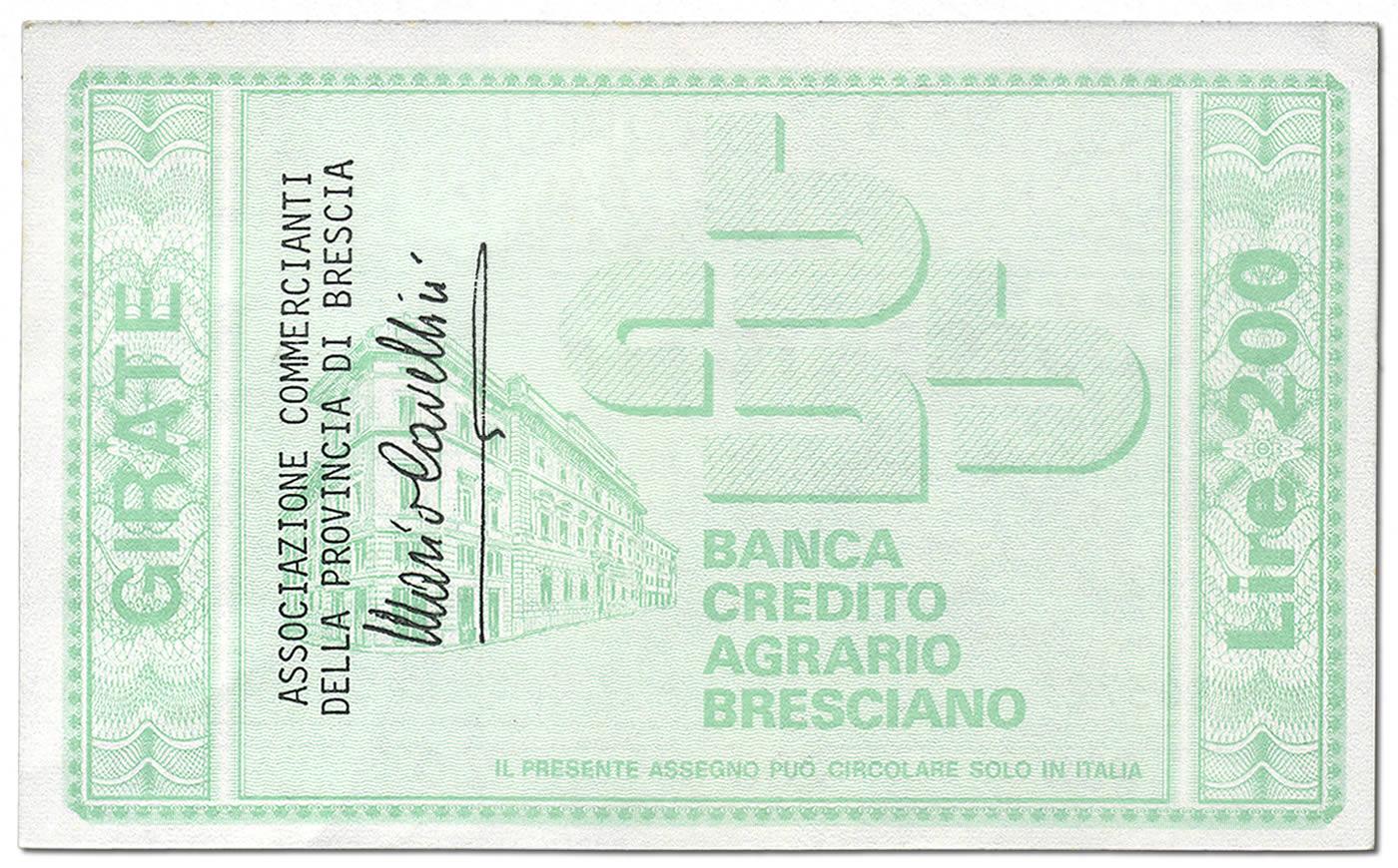 Lire 200, retro. Miniassegno Banca di Credito Agrario Bresciano
