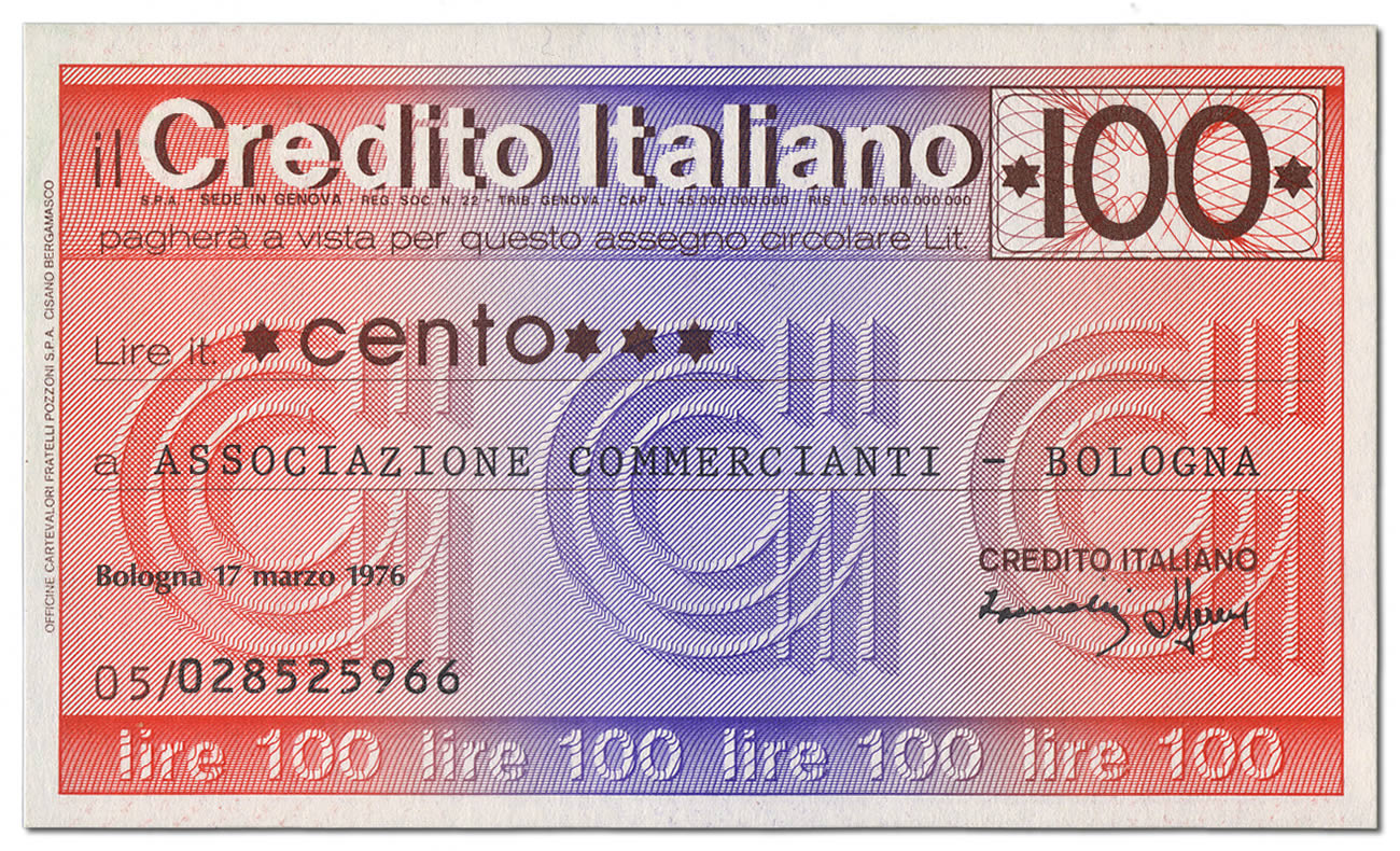 Miniassegno Credito Italiano Lire 100 (fronte)