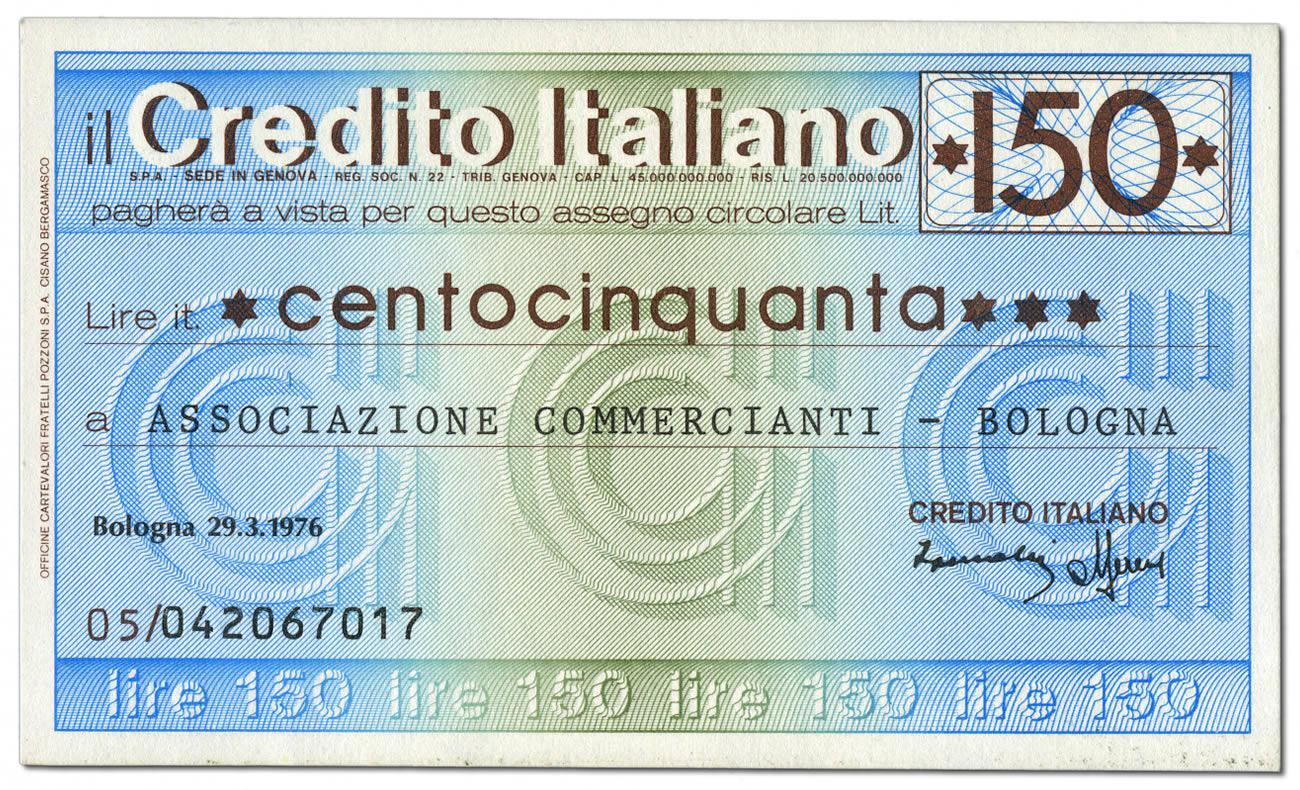 Miniassegno da 150 Lire del Credito Italiano