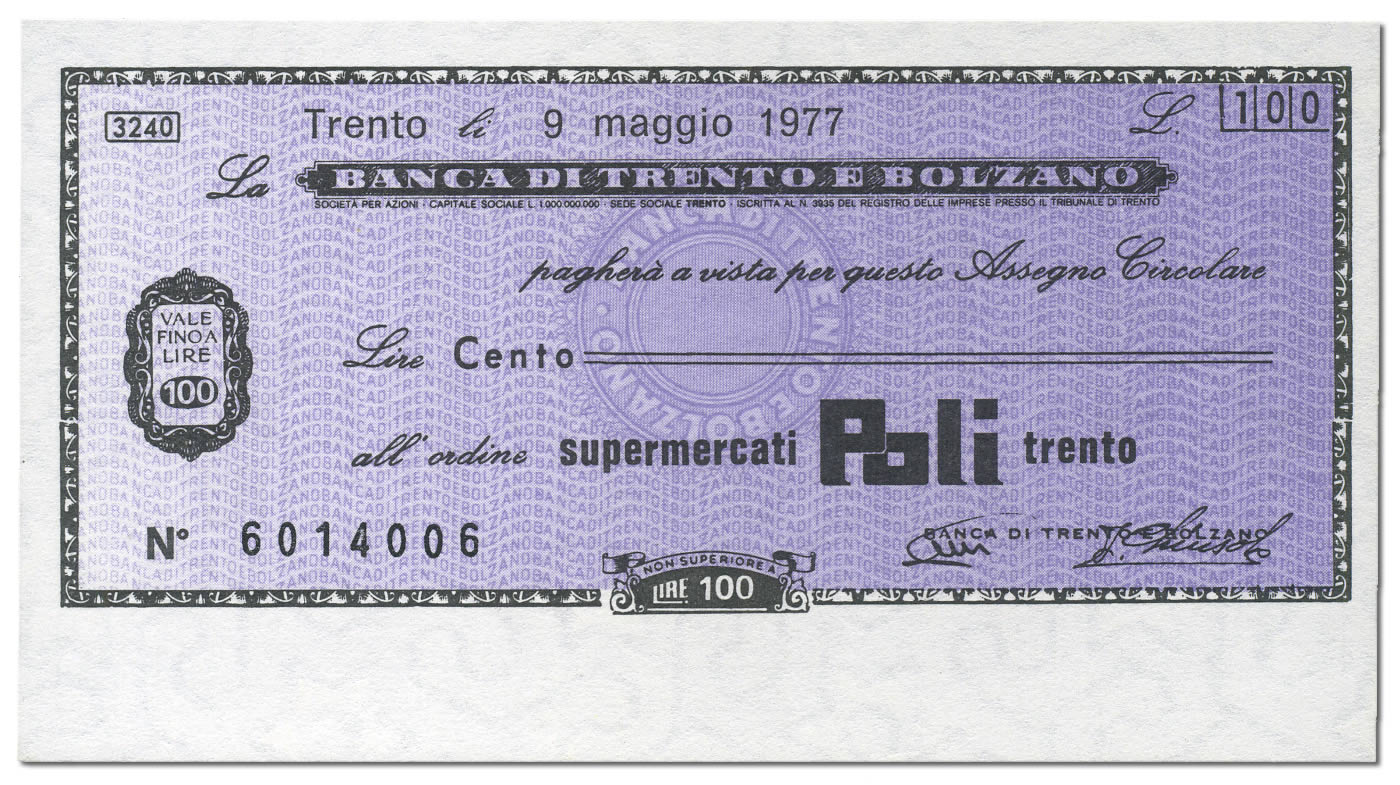 Miniassegno Lire 100 Banca Trento e Bolzano