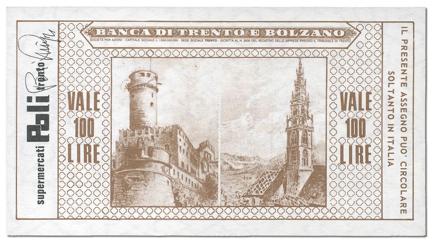 Retro miniassegno Lire 100 Banca di Trento e Bolzano