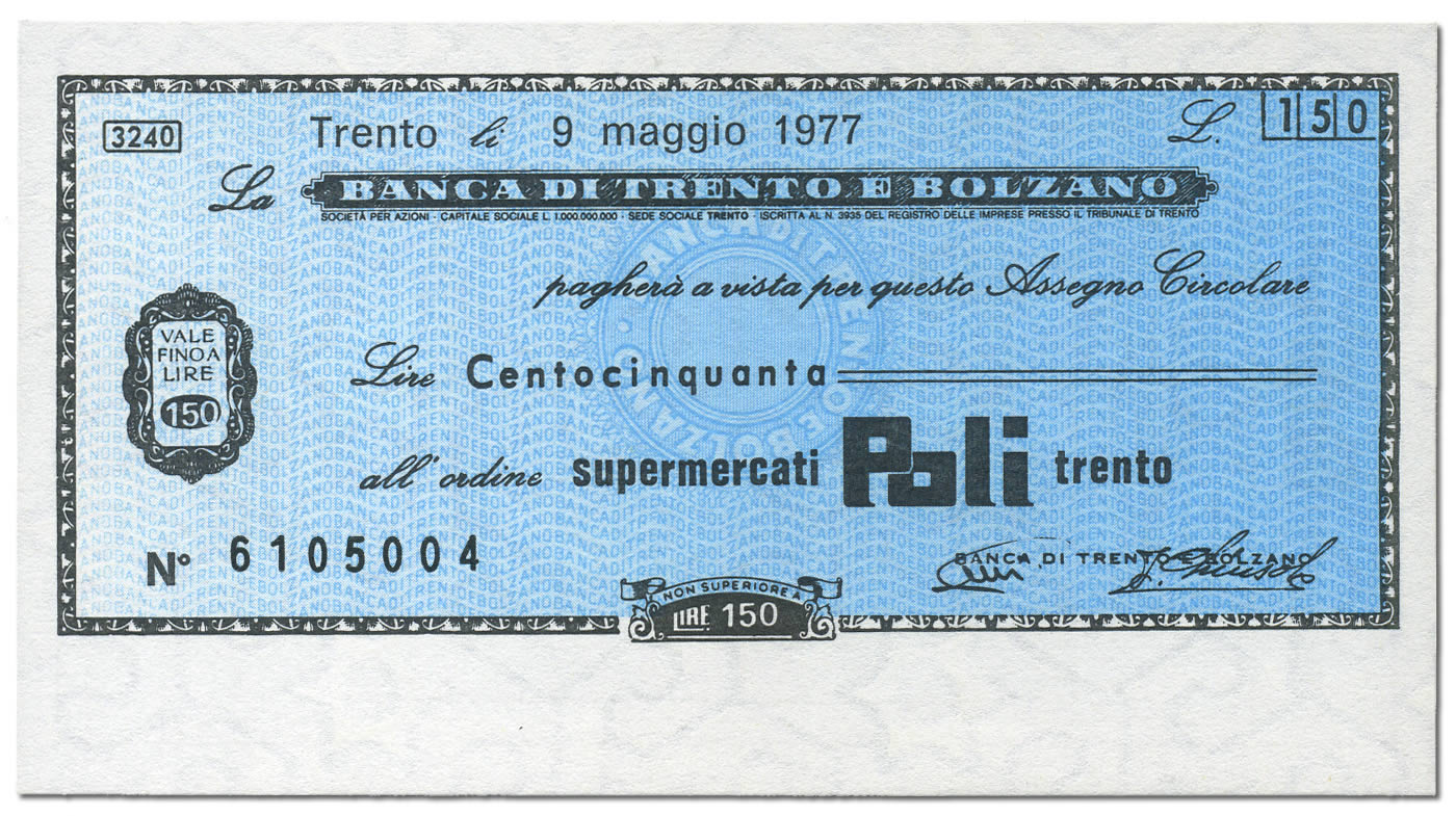 Miniassegno Lire 150 Banca Trento e Bolzano