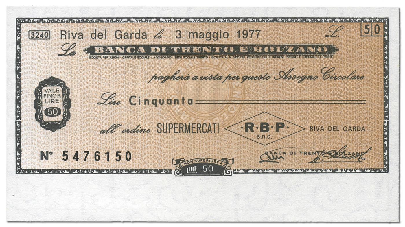 Miniassegno Lire 50 Banca Trento e Bolzano