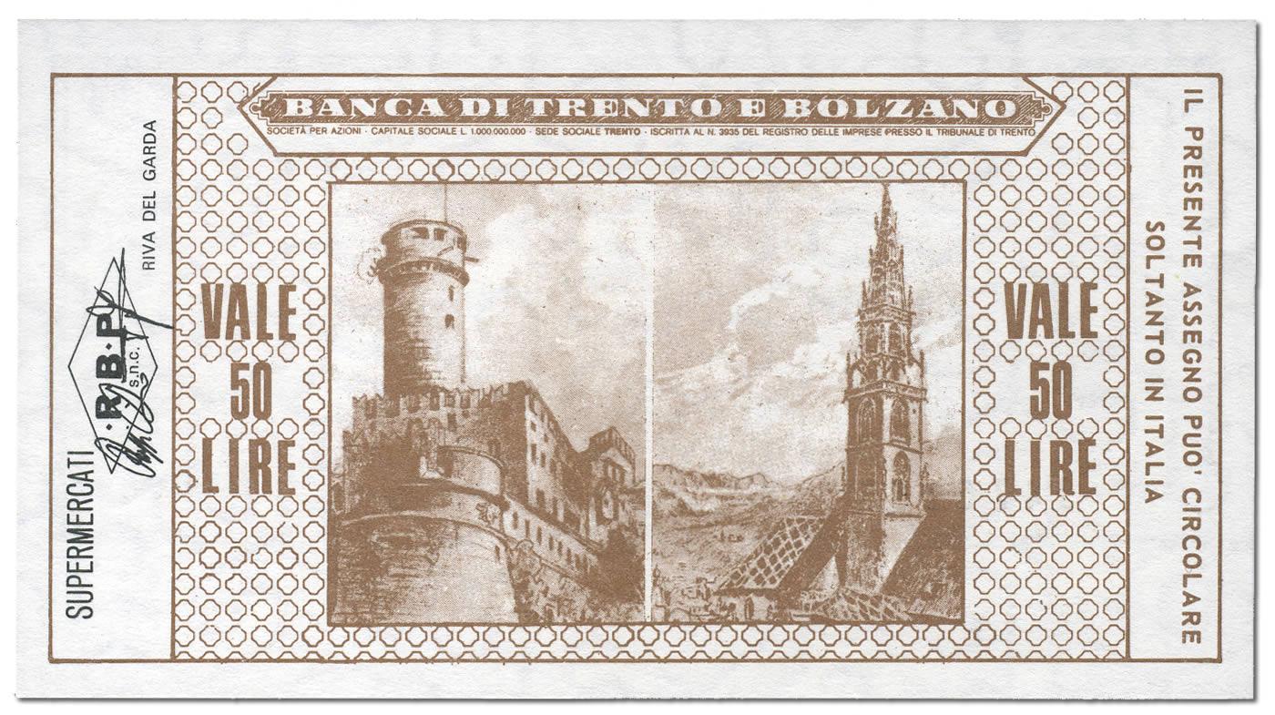Retro miniassegno Trento e Bolzano Lire 50